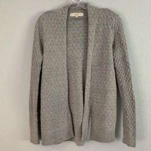 LOFT Gray Textured Open Cardigan